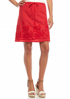 Sophie Max Solid Embroidered Skirt