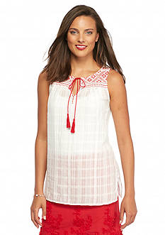 Sophie Max Sleeveless Embroidered Top