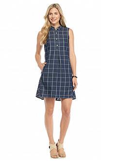Sophie Max Checkered Denim Twill Dress