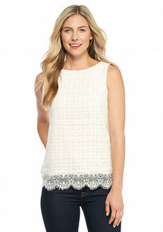 Sophie Max Sleeveless Lace Scallop Tank Top