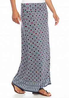 Sophie Max Printed Maxi Floral Tile Skirt