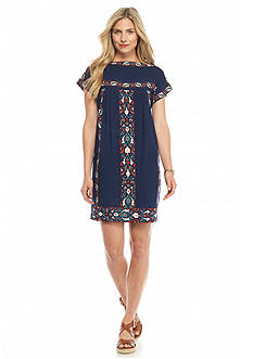 Sophie Max Short Sleeve Printed Border Dress