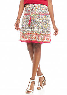 Sophie Max Printed Tassel Drawstring Skirt