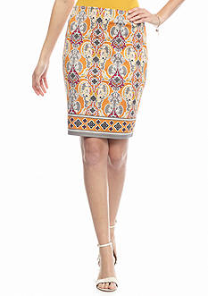 Sophie Max Printed Knit Pencil Skirt