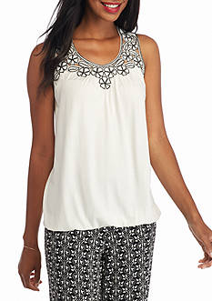 Sophie Max Embroidered Yoke Tank