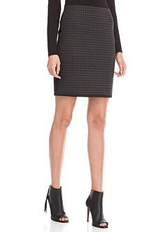 Sophie Max Plaid Ponte Pencil Skirt