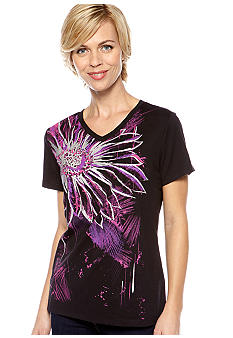 Kim Rogers V-Neck Flower Printed Art Tee