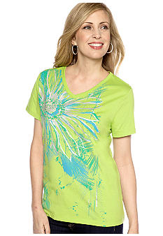 Kim Rogers V-Neck Flower Art Tee