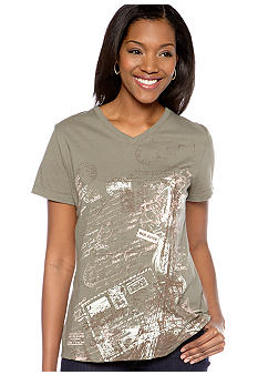 Kim Rogers V-Neck Eiffel Tower Printed Art Tee