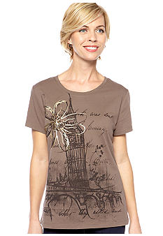 Kim Rogers Scoop Neck Flower Print Art Tee