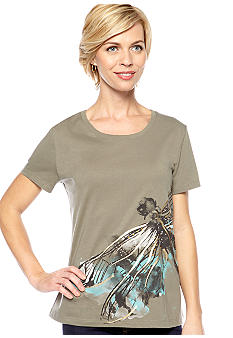 Kim Rogers Scoop Neck Dragonfly Print Art Tee