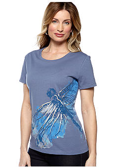 Kim Rogers Scoop Neck Dragonfly Art Tee