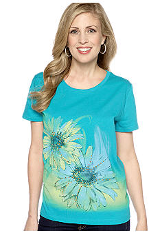 Kim Rogers Scoop Neck Flower Art Tee