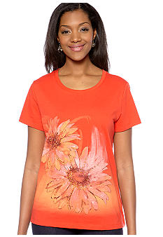 Kim Rogers Scoop Neck  Two Flower Print Art Tee