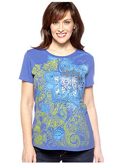 Kim Rogers Scoop Neck Art Floral Tee