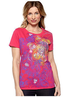 Kim Rogers Scoop Neck Floral Art Tee