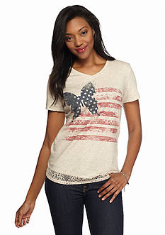 Kim Rogers Butterfly Lace Trim Tee