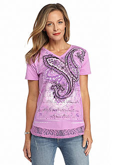 Kim Rogers Embellished Paisley Print Lace Hem Tee