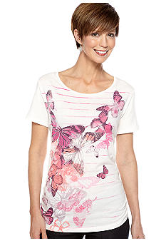 Kim Rogers Art Tee with Butterfly Graphic