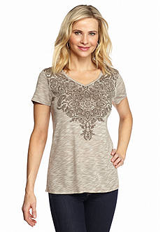 Kim Rogers Paisley Front Knit Top