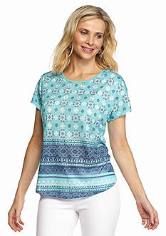 Kim Rogers Front Print Embellished Tee