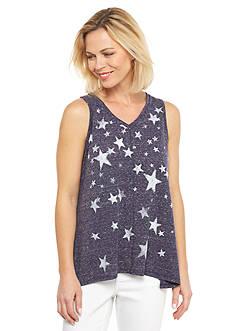Kim Rogers Star Print Embellished Tank