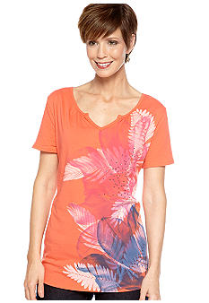 Kim Rogers Short Sleeve Art Tropical Tee
