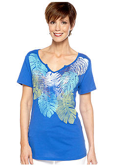 Kim Rogers Short Sleeve Art Leaf Tee