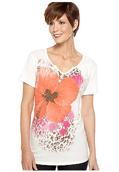 Kim Rogers Short Sleeve Floral Screen Tee with Stud Detail