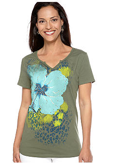 Kim Rogers Short Sleeve Floral and Animal Screen Tee with Rhinestone Foil Detail
