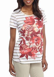 Kim Rogers Floral Stripe Print Top