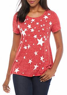 Kim Rogers Stars Printed Swing Knit Top