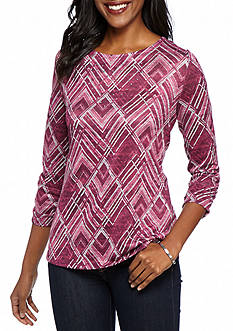 Kim Rogers Hacci Tee Round Hem with Side Slits