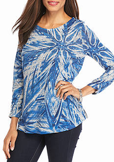 Kim Rogers Three Quarter Ruched Sleeve Hacci Tee