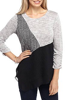 Kim Rogers Hacci Spliced Mixed Colorblocked Top