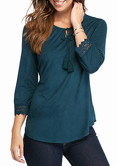 Kim Rogers Flare Sleeve Peasant Top with Lace Cuff