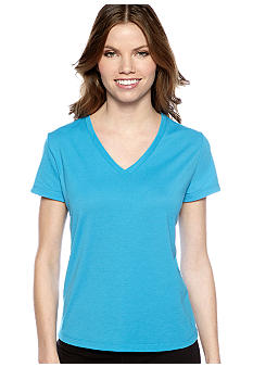 be inspired Petite Short Sleeve V-Neck Jersey Active Tee