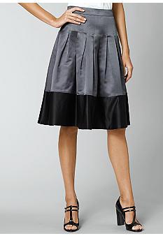 Kristin DavisColorblock Satin Skirt