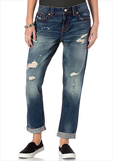 Miss Me Destructed Boyfriend Ankle Jeans