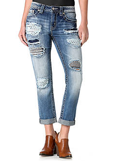Miss Me Embellished & Destructed Ankle Jeans