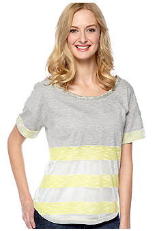 Miss Me Sportswear Short Sleeve Striped Knit Top