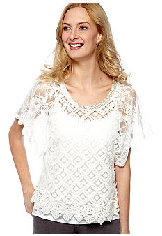 Miss Me Sportswear Short Sleeve Crochet Knit Top