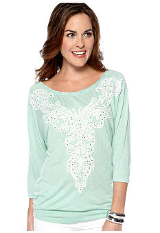 Miss Me Sportswear Raglan Sleeve Embellished Knit Top
