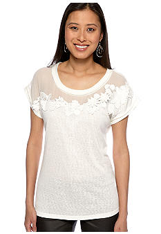 Miss Me Sportswear Short Sleeve Crochet Neck Tee
