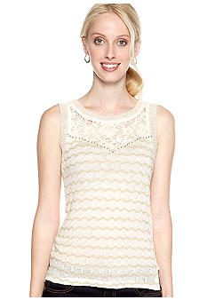 Miss Me Sportswear Lace Yoke Lurex Wave Knit Tank