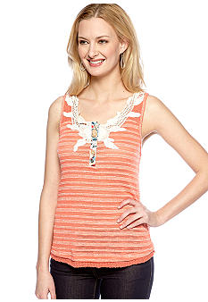 Miss Me Sportswear Stripe Sleeveless Henley