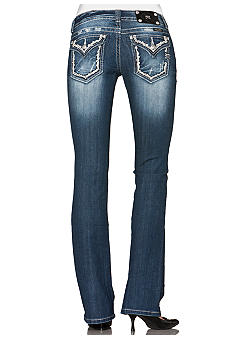 Miss Me Border Flap Pocket Boot Cut Jean