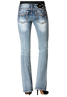 Miss Me Embroidered Flap Pocket Bootcut Jean