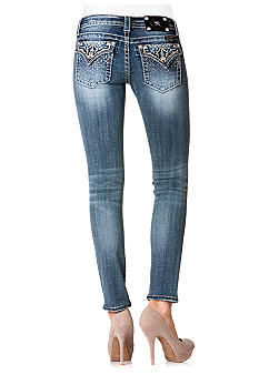 Miss Me Studded Flap Pocket Ankle Skinny Jean