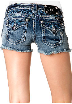 Miss Me White Washed Printed Jean Short